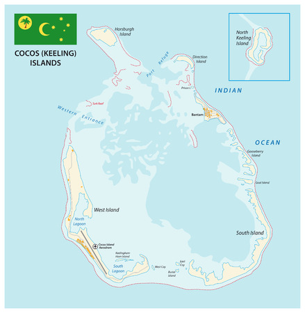 Cocos (Keeling) vector map with flag