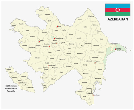 azerbaijan administrative and political vector map with flag