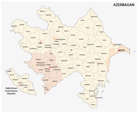 azerbaijan administrative and political vector map