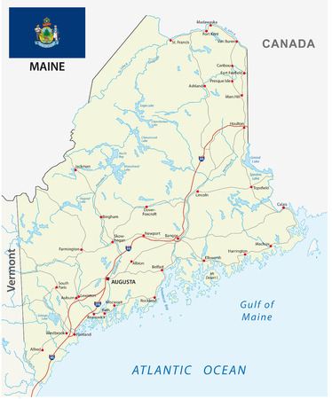 Maine road vector map with flag