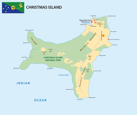 Vector map of the territory of Christmas Island with flag