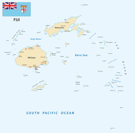 Republic of Fiji vector map with flag. Illustration