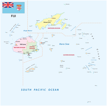 Republic of Fiji administrative and political vector map with flag.