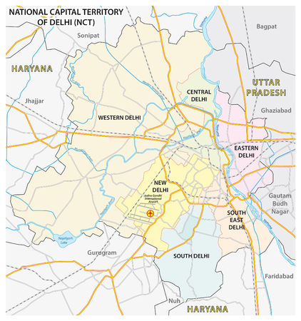 Administrative, political and street maps of the National Capital Territory of Delhi (NCT)