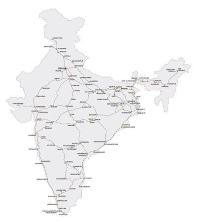 Detailed railway map of the main routes of India.