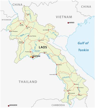 Road vector map of Lao People`s Democratic Republic 일러스트