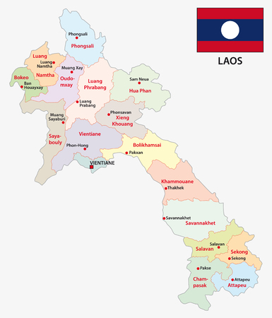 Laos administrative and political vector map with flag.