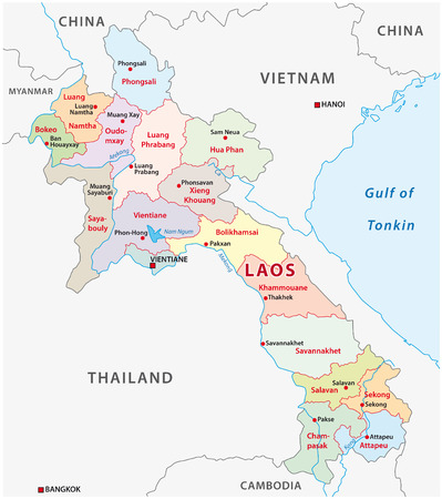 Laos administrative and political vector map.
