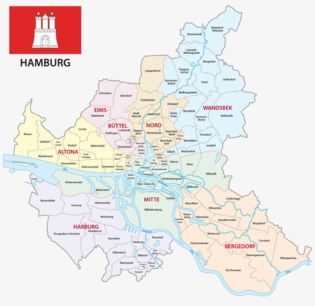 Hamburg administrative and political map with flag.