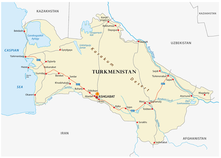 Turkmenistan road vector map with important cities. Illustration