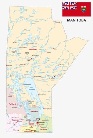 Manitoba administrative and political map with flag Ilustração