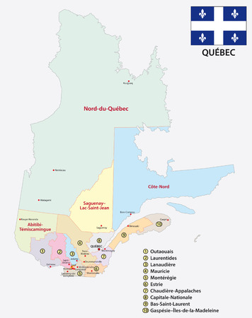 Province of Quebec administrative and political vector map with flag.