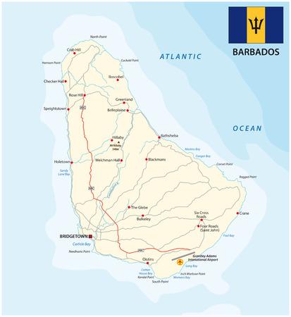 Carte de vecteur route Barbade avec indicateur