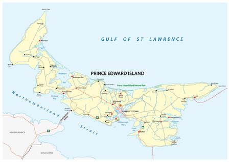 Prince Edward Island vector road map