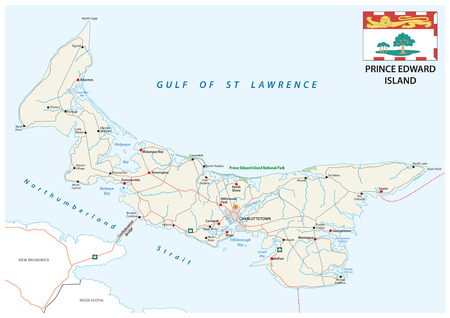 Prince Edward Island vector road map with flag