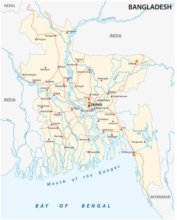 Bangladesh country road vector map