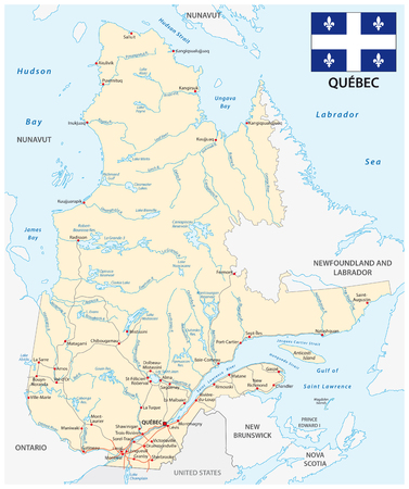 Province quebec road vector map with flag Иллюстрация