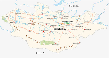 Mongolia road and national park vector map Ilustracja