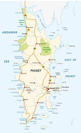 Detailed phuket road and beach vector map Ilustrace