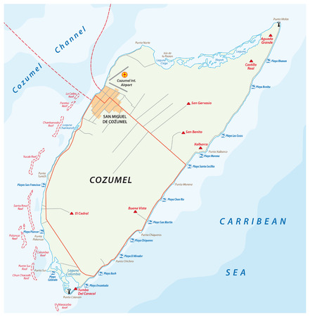 Cozumel beach and road vector map, Mexico