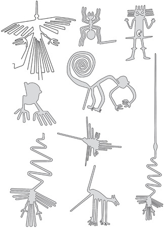 Nazca lines from Nazca desert in Peru illustration.