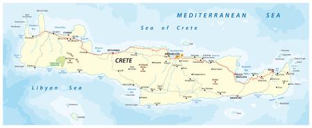그리스 지중해 섬 크레타의 거리지도 벡터 일러스트