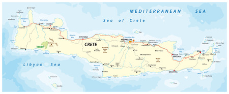 vector street map of greek mediterranean island crete 向量圖像