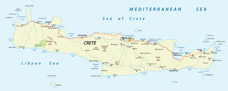 vector street map of greek mediterranean island crete 일러스트