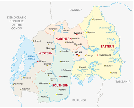 Rwanda administrative and political vector map