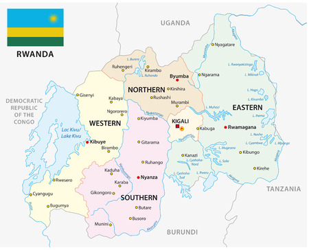 Rwanda administrative and political vector map with flag