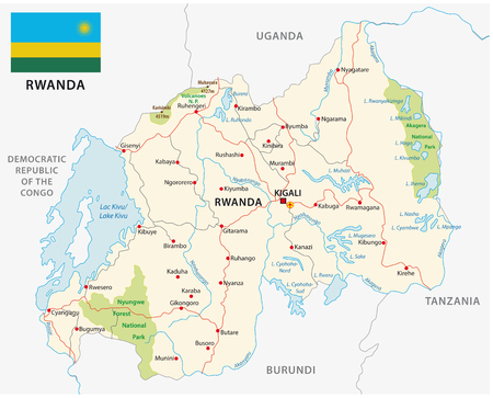 Rwanda road and national park vector map with flag