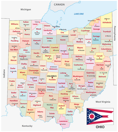 Ohio administrative and political vector map with flag