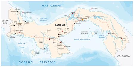 Republic of Panama road vector map Ilustração