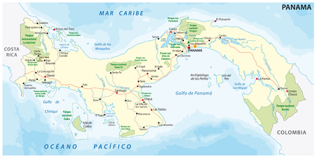 Republic of Panama road and national park vector map Illustration