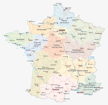 france road, administrative and political vector map