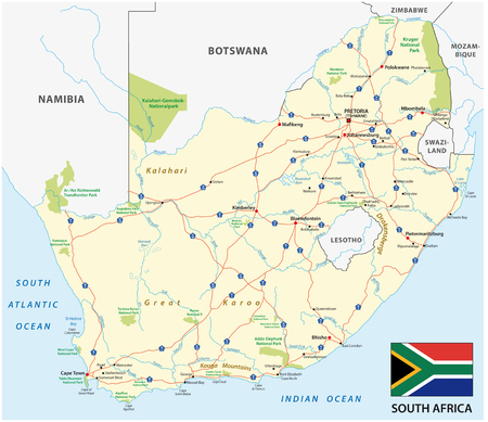 South Africa road vector map with flag Illustration