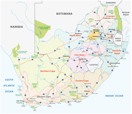 South Africa Road, administrative and political vector map Illustration