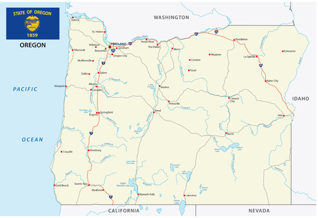 oregon road vector map with flag Banco de Imagens - 95148235