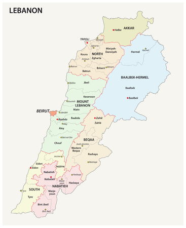 Detailed Lebanon administrative and political vector map Stok Fotoğraf - 95319490