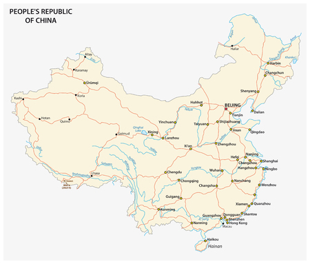 Peoples Republic of China road vector map