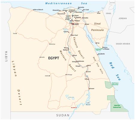 Roads vector map of the Arab Republic of Egypt Ilustração