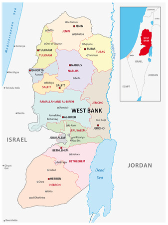 west bank administrative and political vector map