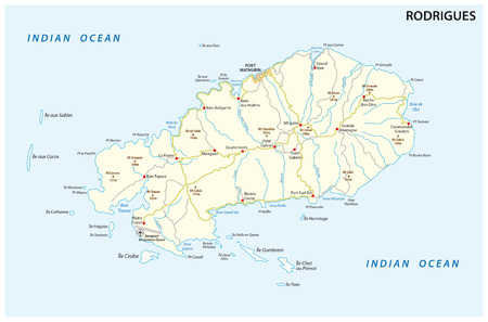Rodrigues island road vector map