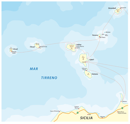 Map of the Italian island group Aeolian Islands in the Tyrrhenian Sea