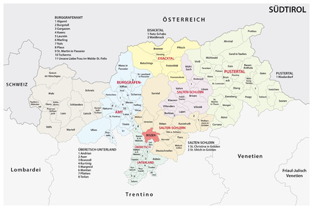 Administrative and political map of the Italian province of South Tyrol in German language