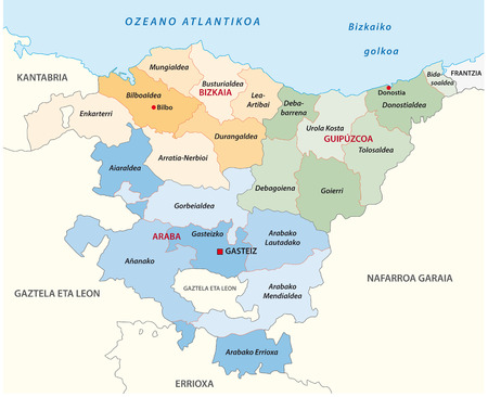 Basque country administrative and political vector map in basque language Illustration