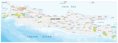 Vector road and national park map of the Indonesian island of Java
