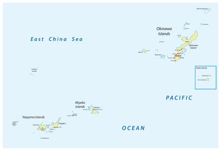 沖縄・宮古・山諸島の詳細ベクターマップ