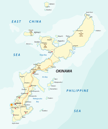 日本の島沖縄の詳細なベクトルロードマップ。  イラスト・ベクター素材