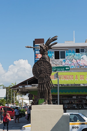 Still image of the Aztec Emperor Cuauhtemoc at a street in Chetumal, Quintana Roo, Mexico